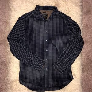 Tailored fit cotton and cashmere plaid shirt